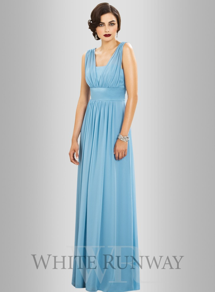 Greek goddess - Dessy Kelly dress - blue grecian style