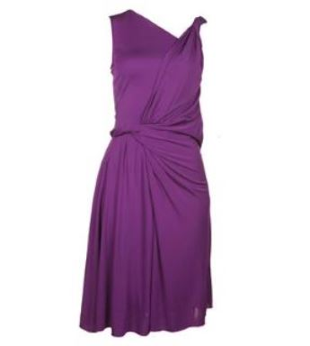 Grecian fashion - Gucci purple asymmetric deep drape dress