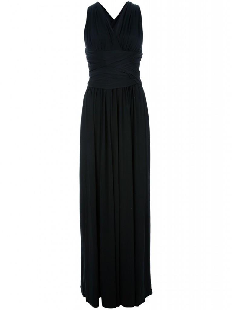 HALSTON HERITAGE black Grecian style gown