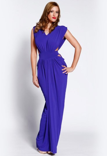 Greek goddess gown - Harlow grecian style maxi dress - blue evening gown