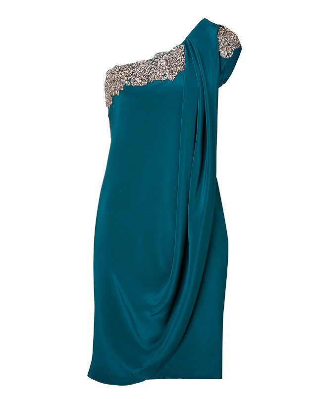 Marchesa crystal embroidered silk crepe one-shoulder dress in teal