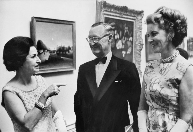 Rachel Lambert Mellon, right, with her husband Paul, and Lady Bird Johnson at the National Gallery of Art.