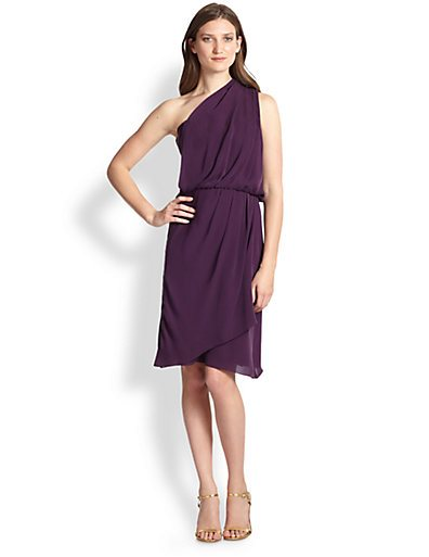 Rebecca Taylor purple draped one-shoulder chiffon dress