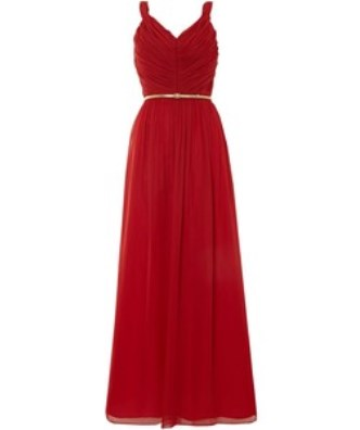 Grecian fashion - Untold red chiffon strappy V-neck maxi dress