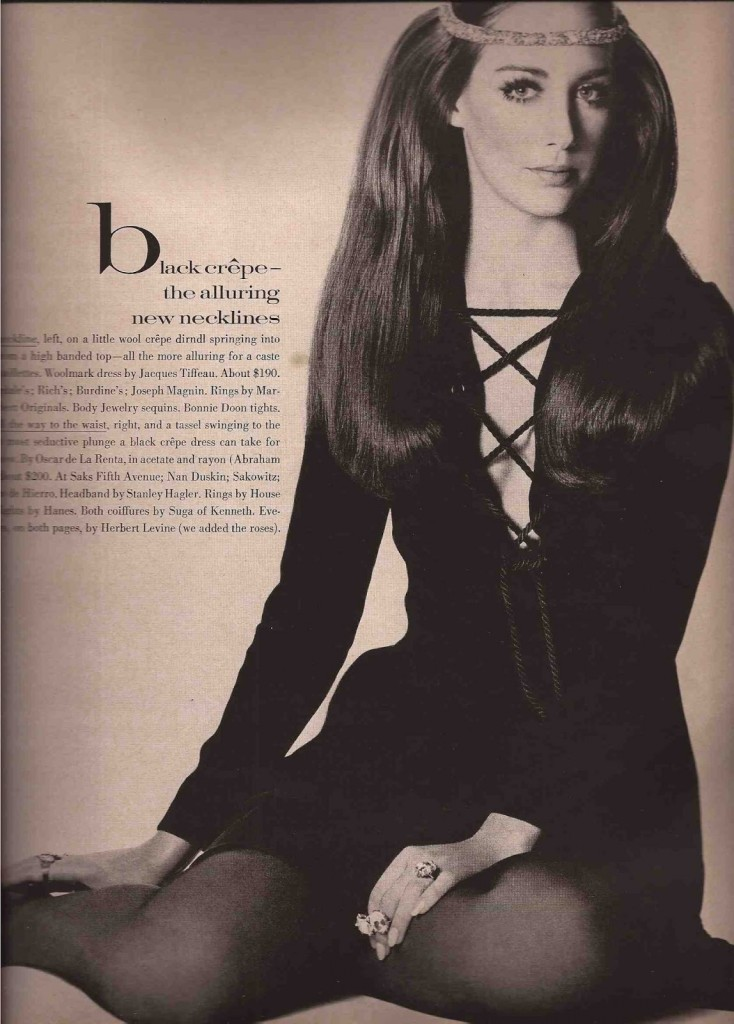 Oscar de la Renta black crepe dress with tassels in Vogue 1969