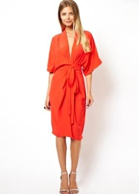 Resort style - ASOS orange midi dress with obi belt