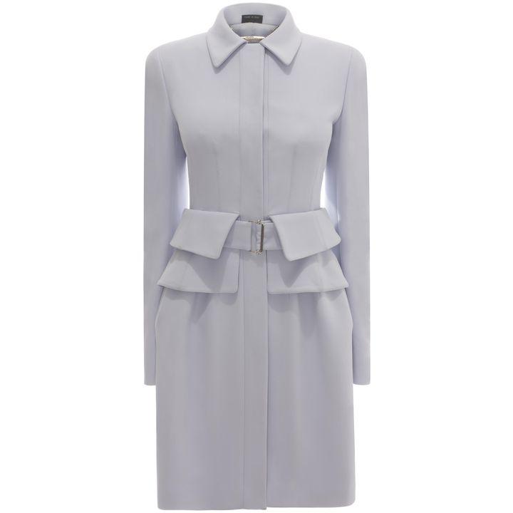 Kate Middleton blue coat - Alexander McQueen Pre-Spring Summer Utility peplum coat dress