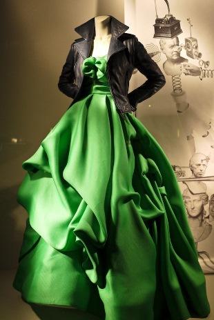 Balenciaga paired with Oscar de la Renta gown in a Bergdorf Goodman shop window