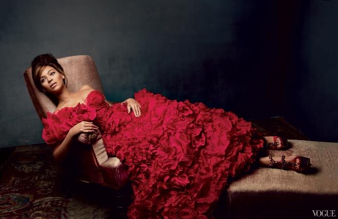 Singer Beyonce photographed by Patrick Demarchelier wearing Oscar de la Renta in Vogue March 2013