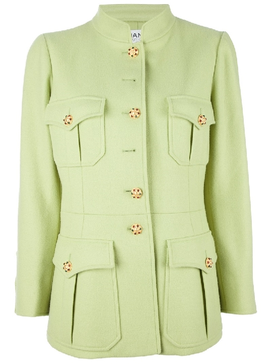 CHANEL VINTAGE light green lime button down coat