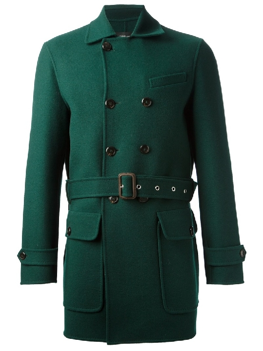 DSQUARED2 short green military coat