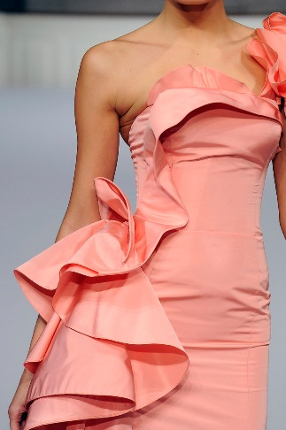 Details Oscar de la Renta - pink ruffle dress