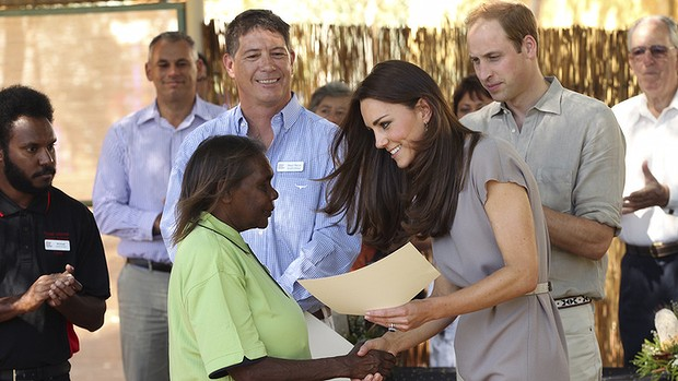 Kate Middleton: Duchess of Cambridge in the Northern Territory of Australia in a taupe cap-sleeved dress by Roksanda Ilincic
