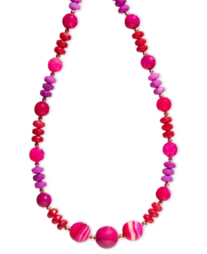 Resort style - Gold over sterling silver necklace dyed-pink lavender and red agate necklace