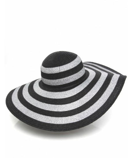 Resort style - Helene Berman black striped woven sun hat