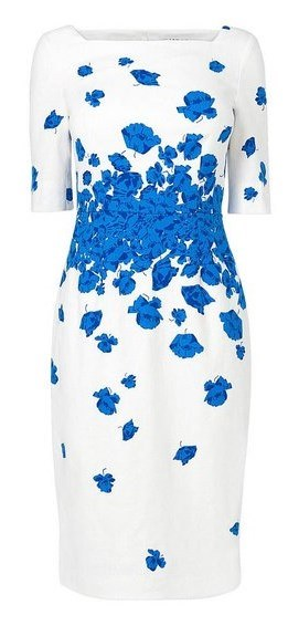 Kate Middleton - LK Bennett Lasa Poppy print dress - Snorkel blue and white