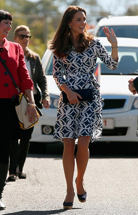 WHAT KATE WORE: Kate Middleton in Diane von Furstenberg blue and white geometric wrap dress - royal tour 2014