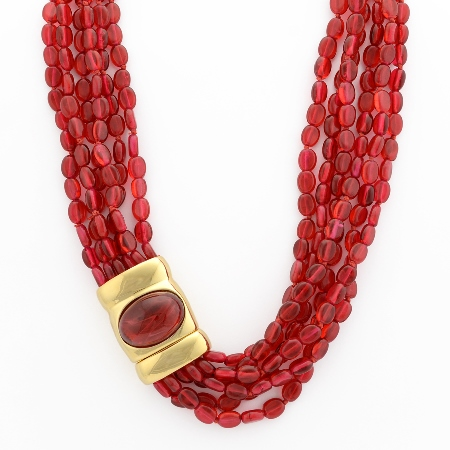 Resort style - Kenneth Jay Lane red 6-strand ruby bead necklace