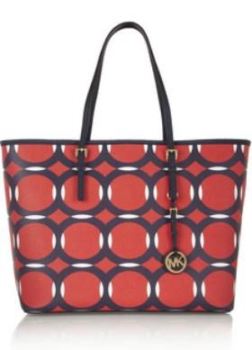 Resort style - Michael Kors red Jet Set Travel medium printed textured-leather tote