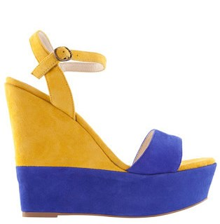 Resort style - Mollini - Believer royal blue and yellow wedge