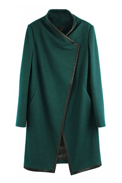 SHOP ONLINE: Oasap green slim fit pure color studded coat