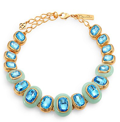 Resort style - Oscar de la Renta blue framed stone necklace
