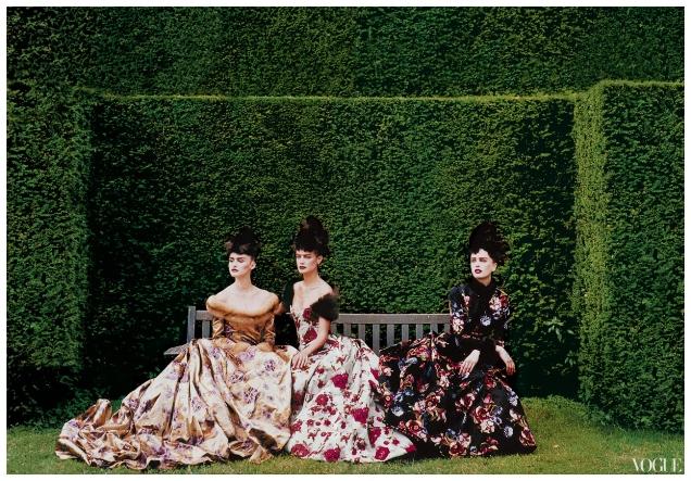 Oscar de la Renta collection for Balmain photographed by Peter Lindbergh for Vogue October 1997