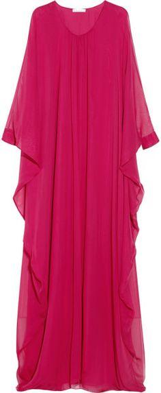 Resort style clothing - Oscar de la Renta pink silk-chiffon kaftan