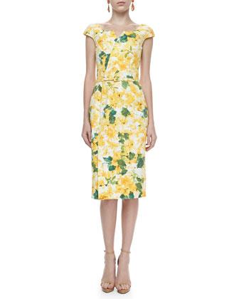Resort style - Oscar de la Renta yellow cap-sleeve floral-print dress