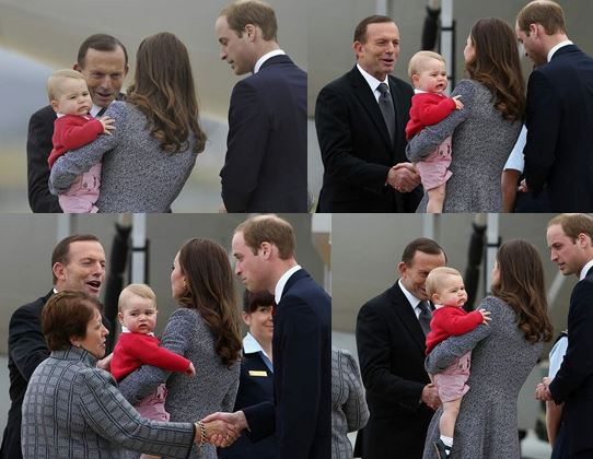 Prince George reacting to Tony Abbott