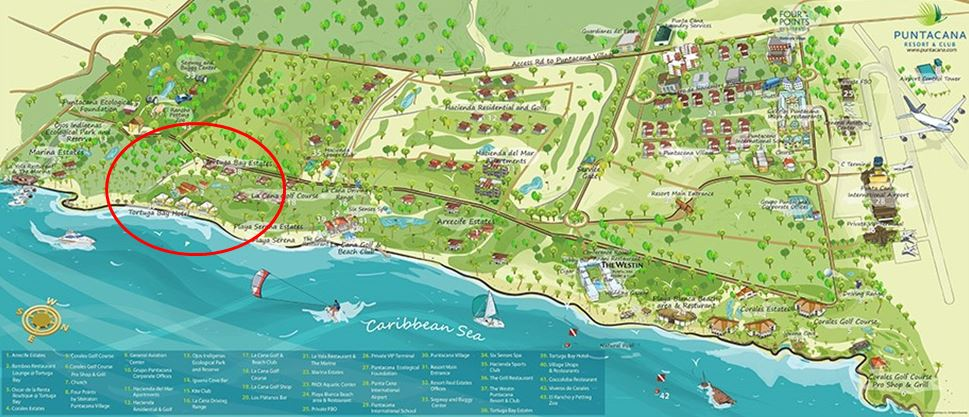 MAP: Tortuga Bay Hotel at Puntacana Resort & Club