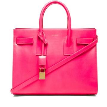 Resort style - Saint Laurent small Sac De Jour carryall bag in neon pink