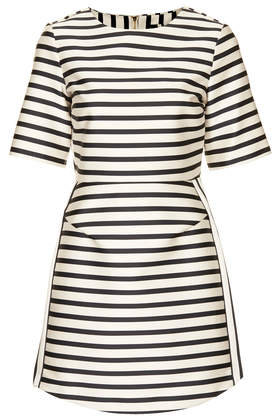Resort style - Topshop black and white satin stripe A-line dress