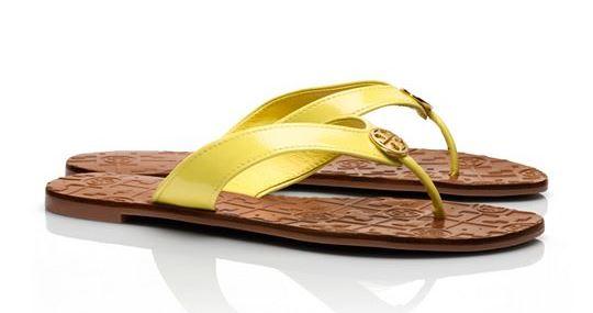 Resort style - Tory Burch yellow patent Thora 2 sandal