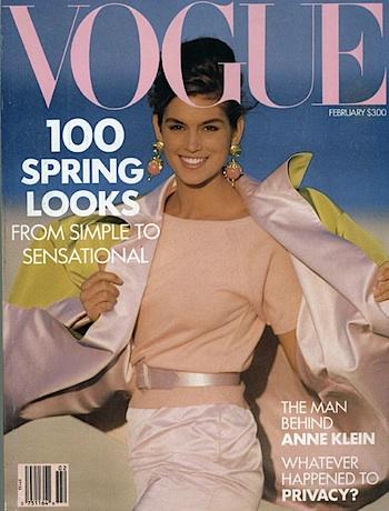 VINTAGE VOGUE: Cindy Crawford on the cover of Vogue February 1990 in Oscar de la Renta