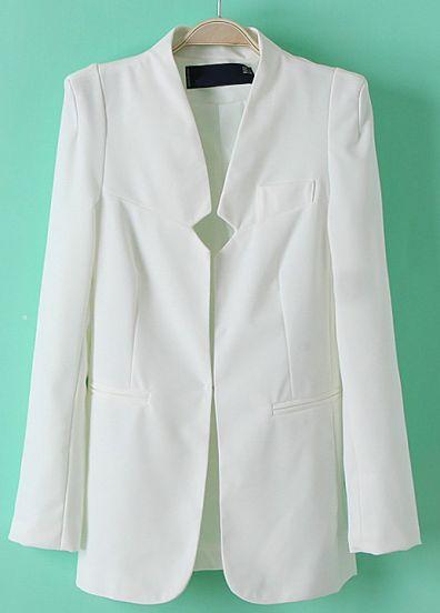 Resort style - White long sleeve blazer from SheInside