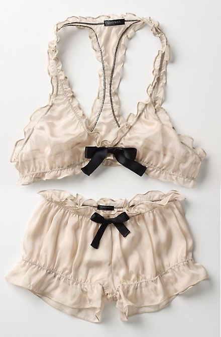 Luscious vintage-inspired underwear with frills and black bow