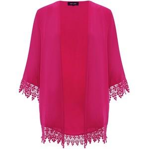 PINK: Dark Pink Crochet Hem Kimono