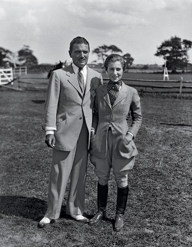 932 - Mr. and Mrs. J. V. Bouvier III at a horse show in Southampton, Long Island - the parents of Jacqueline Bouvier Kennedy Onassis and Caroline Lee Bouvier Canfield Radziwell Ross