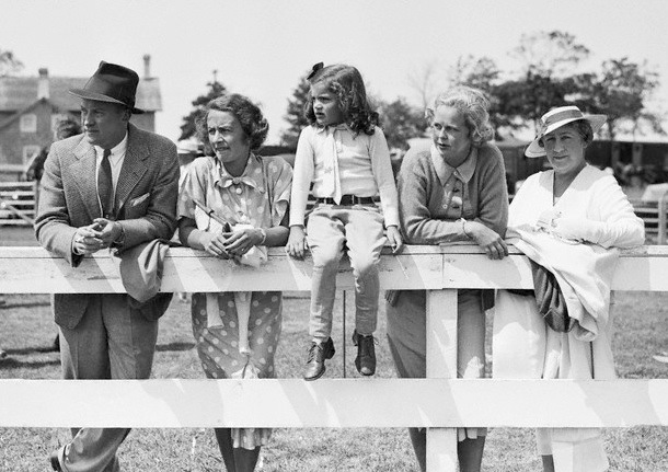 Left to right - Franklin D'Olier, Winifred Lee, Jacqueline Bouvier (late Kennedy Onassis), Marian Raymond and Mrs. James T. Lee at the Southhampton Riding and Hunt Club's seventh annual horse show
