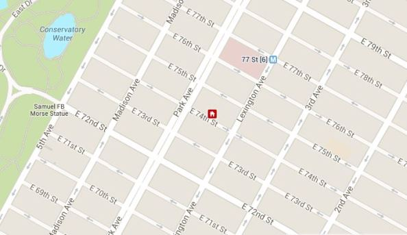 MAP 125 East 74th Street New York - John Bouvier apartment - father of Jackie Kennedy Onassis