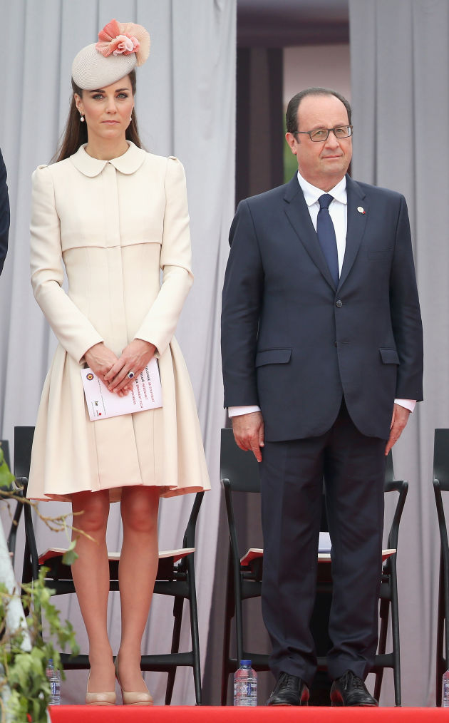 ROYAL STYLE: Duchess of Cambridge in Belgium in a cream colored coat from Alexander McQueen August 2014