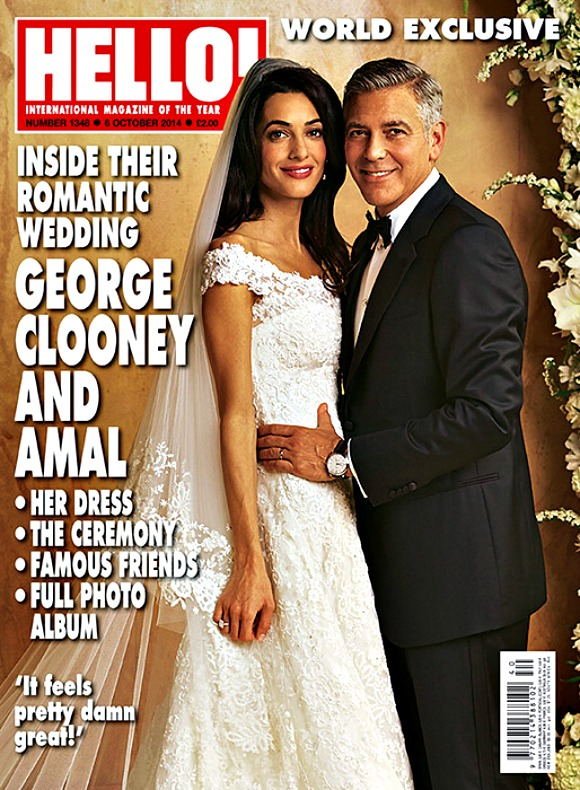 Amal Alamuddin wedding dress - Oscar de la Renta magazine cover