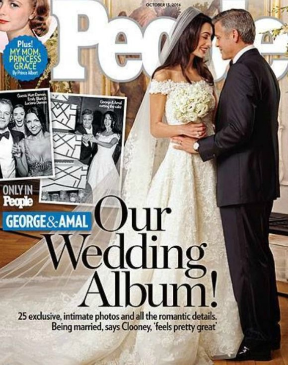 Amal Alamuddin in Oscar de la Renta wedding dress - marriage to George Clooney