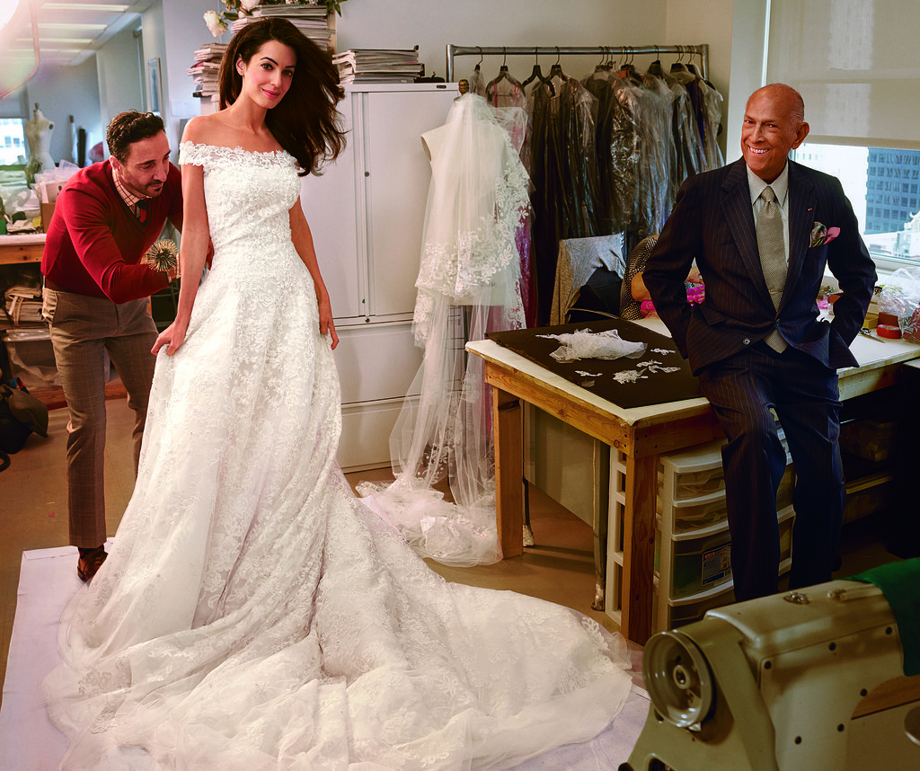 Amal Alamuddin's final wedding dress fitting with Oscar de la Renta - Photo by Annie Leibovitz, Vogue, October 2014