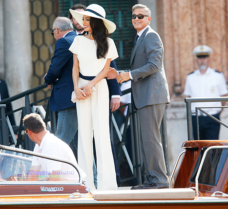 ALAMUDDIN WEDDING: White pantsuit and white floppy hat