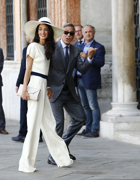 AMAL WEDDING OUTFIT: George Clooney and Amal Alamuddin at the signing the official wedding register