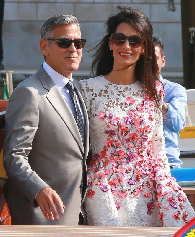PHOTOS: George Clooney and Amal Alamuddin wedding ring and floral Giambattista Valli Couture dress details