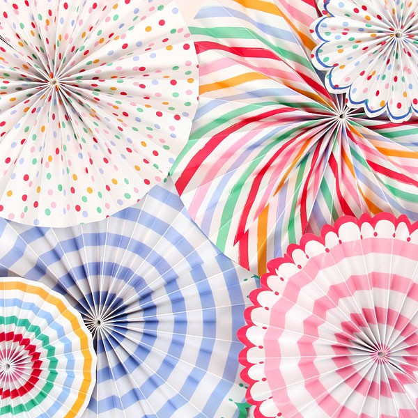 HAPPINESS: Striped polka dot pin-wheel paper fans