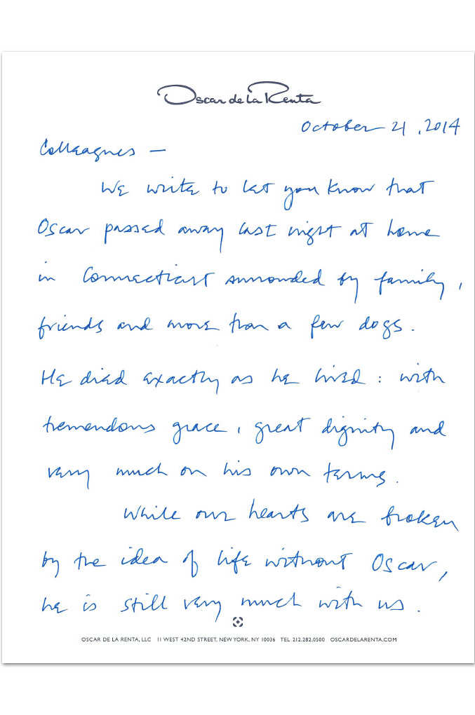 Handwritten statement confirming Oscar de la Renta death at home in Connecticut, from Alex and Eliza Bolen, the late designer's son-in-law (and CEO) and stepdaughter